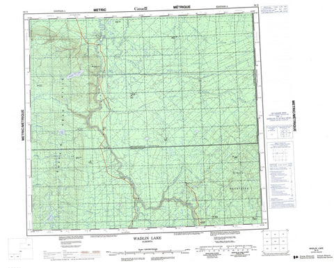 084G Wadlin Lake Canadian topographic map, 1:250,000 scale