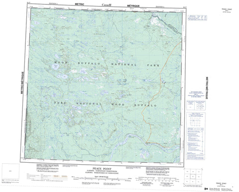 084P Peace Point Canadian topographic map, 1:250,000 scale