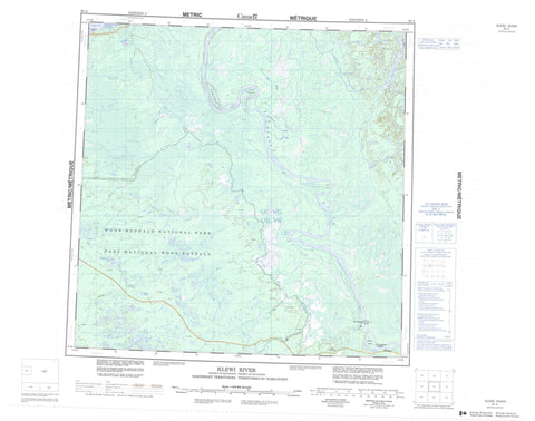 085A Klewi River Canadian topographic map, 1:250,000 scale