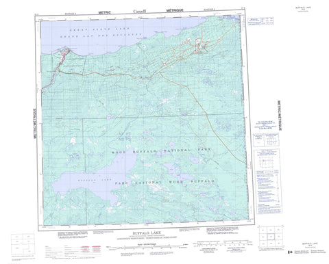 085B Buffalo Lake Canadian topographic map, 1:250,000 scale