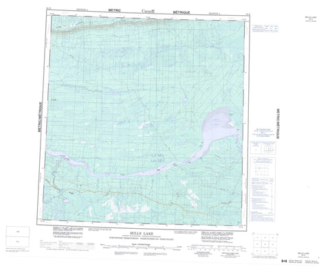 085E Mills Lake Canadian topographic map, 1:250,000 scale