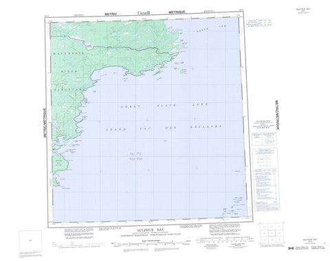 085G Sulphur Bay Canadian topographic map, 1:250,000 scale