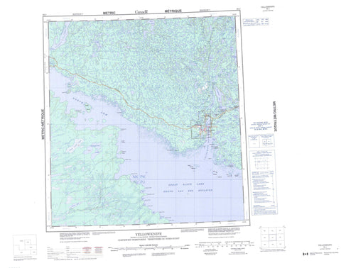 085J Yellowknife Canadian topographic map, 1:250,000 scale
