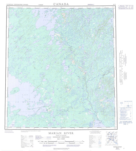 085N Marian River Canadian topographic map, 1:250,000 scale