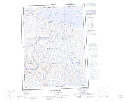 086O Coppermine Canadian topographic map, 1:250,000 scale