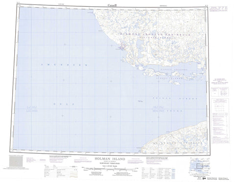 087F Holman Island Canadian topographic map, 1:250,000 scale