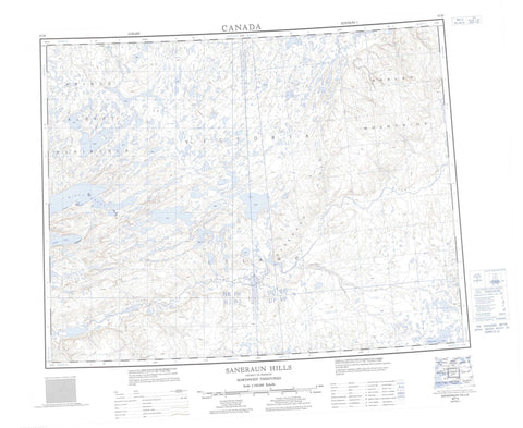 087H Saneraun Hills Canadian topographic map, 1:250,000 scale