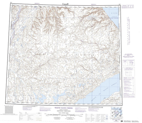 088C White Sand Creek Canadian topographic map, 1:250,000 scale