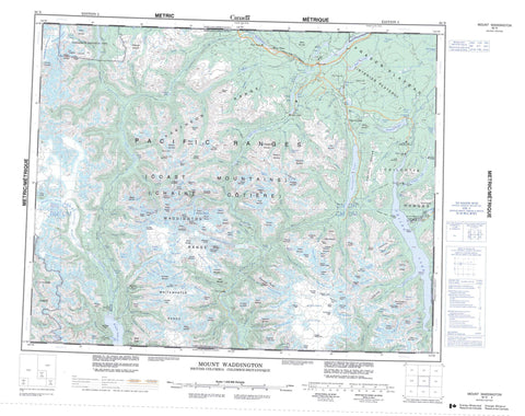 092N Mount Waddington Canadian topographic map, 1:250,000 scale