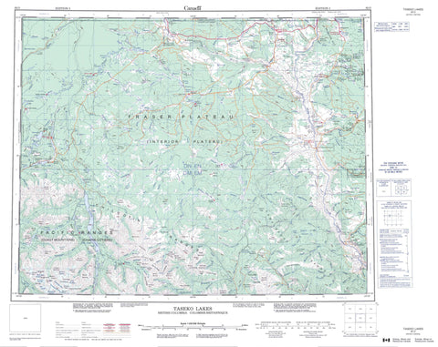 092O Taseko Lakes Canadian topographic map, 1:250,000 scale