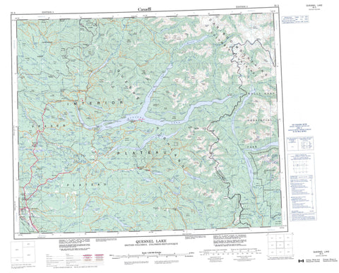093A Quesnel Lake Canadian topographic map, 1:250,000 scale
