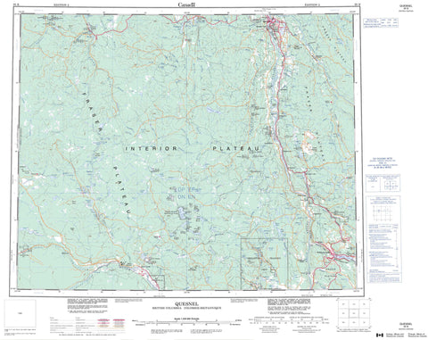 093B Quesnel Canadian topographic map, 1:250,000 scale