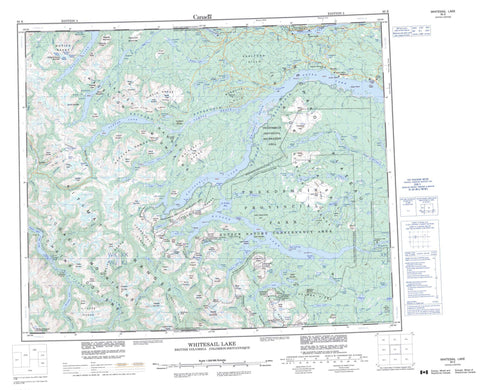 093E Whitesail Lake Canadian topographic map, 1:250,000 scale