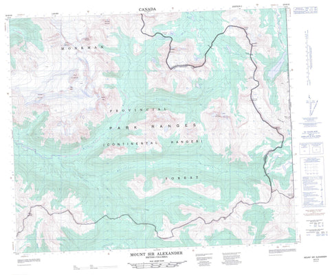 093H16 Mount Sir Alexander Canadian topographic map, 1:50,000 scale