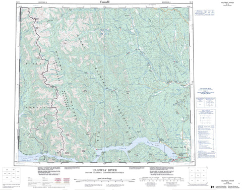 094B Halfway River Canadian topographic map, 1:250,000 scale