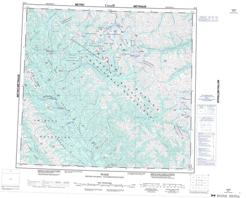094F Ware Canadian topographic map, 1:250,000 scale
