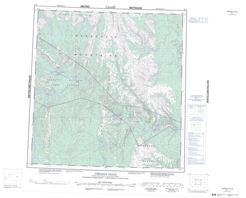 095F Virginia Falls Canadian topographic map, 1:250,000 scale