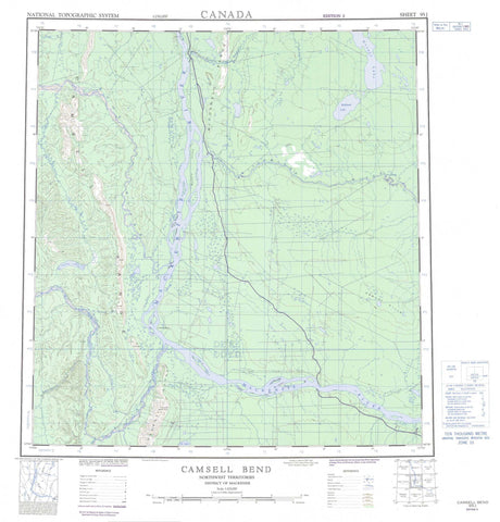 095J Camsell Bend Canadian topographic map, 1:250,000 scale