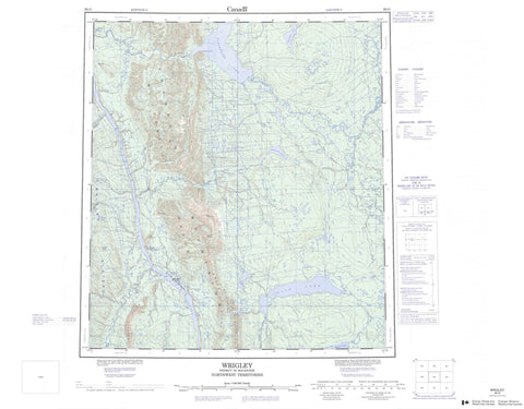 095O Wrigley Canadian topographic map, 1:250,000 scale