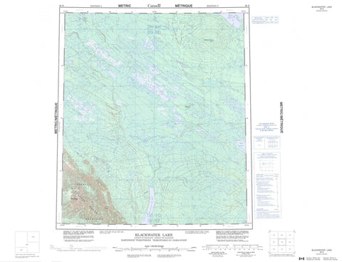 096B Blackwater Lake Canadian topographic map, 1:250,000 scale