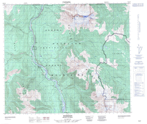 103I16 Dorreen Canadian topographic map, 1:50,000 scale