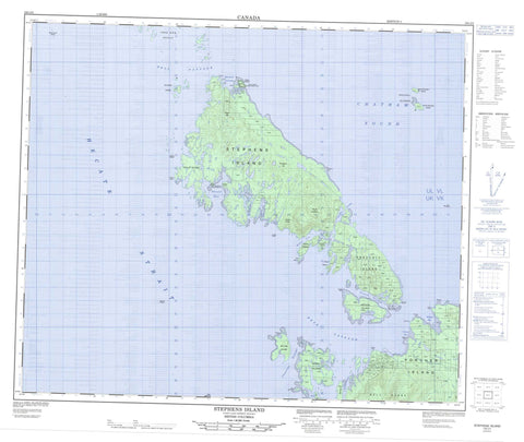 103J02 Stephens Island Canadian topographic map, 1:50,000 scale