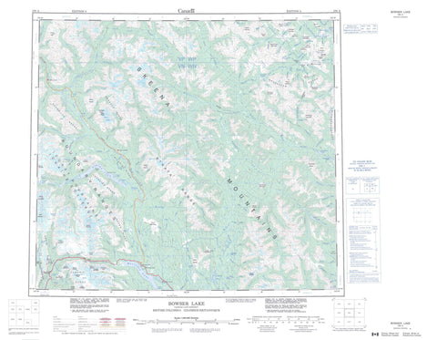 104A Bowser Lake Canadian topographic map, 1:250,000 scale
