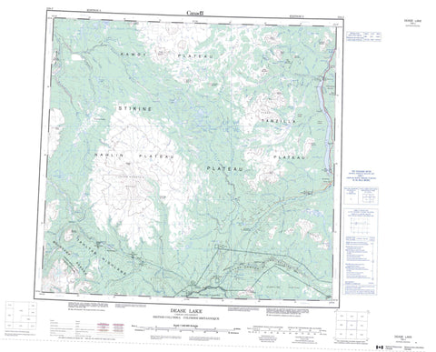 104J Dease Lake Canadian topographic map, 1:250,000 scale