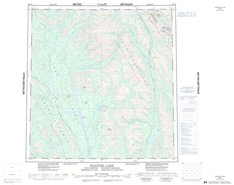105H Frances Lake Canadian topographic map, 1:250,000 scale