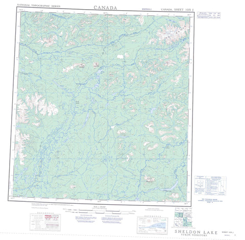 105J Sheldon Lake Canadian topographic map, 1:250,000 scale