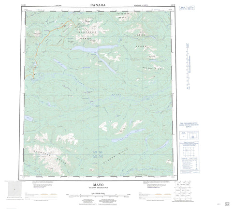 105M Mayo Canadian topographic map, 1:250,000 scale