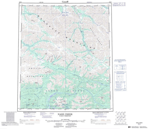 106D Nash Creek Canadian topographic map, 1:250,000 scale