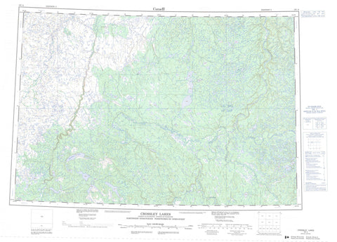 107A Crossley Lakes Canadian topographic map, 1:250,000 scale