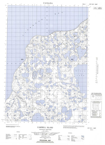 107D11E Campbell Island Canadian topographic map, 1:50,000 scale