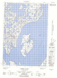 107D11W Campbell Island Canadian topographic map, 1:50,000 scale
