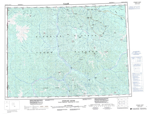 115O Stewart River Canadian topographic map, 1:250,000 scale