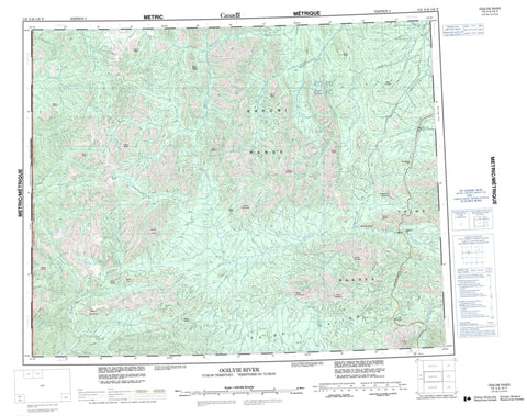 116G Ogilvie River Canadian topographic map, 1:250,000 scale