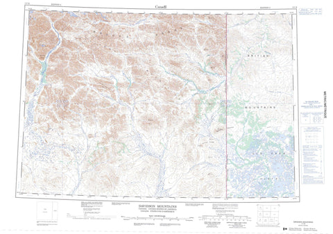 117B Davidson Mountains Canadian topographic map, 1:250,000 scale