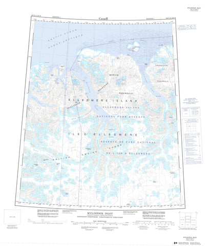 340E M Clintock Inlet Canadian topographic map, 1:250,000 scale