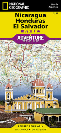 Buy map Nicaragua, Honduras and El Salvador Adventure Map 3109 by National Geographic Maps