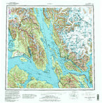 Juneau Alaska Historical topographic map, 1:250000 scale, 1 X 2 Degree, Year 1962 from United States Map Store
