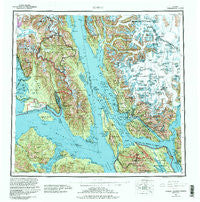 Juneau Alaska Historical topographic map, 1:250000 scale, 1 X 2 Degree, Year 1962