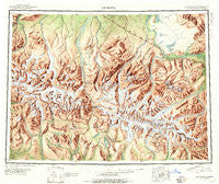 Mount Hayes Alaska Historical topographic map, 1:250000 scale, 1 X 3 Degree, Year 1950