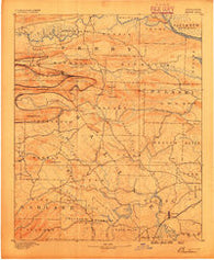 Benton Arkansas Historical topographic map, 1:125000 scale, 30 X 30 Minute, Year 1890