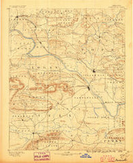 Dardanelle Arkansas Historical topographic map, 1:125000 scale, 30 X 30 Minute, Year 1890