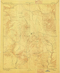 Prescott Arizona Historical topographic map, 1:250000 scale, 1 X 1 Degree, Year 1892
