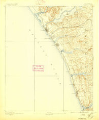 Oceanside California Historical topographic map, 1:62500 scale, 15 X 15 Minute, Year 1893