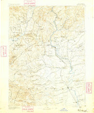 Red Bluff California Historical topographic map, 1:250000 scale, 1 X 1 Degree, Year 1890