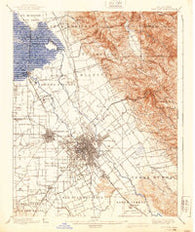 San Jose California Historical topographic map, 1:62500 scale, 15 X 15 Minute, Year 1889