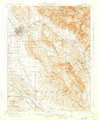 Santa Rosa California Historical topographic map, 1:62500 scale, 15 X 15 Minute, Year 1916